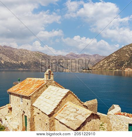 Church of Our Lady of Angels and two islets ( Island of Our Lady of The Rocks and Island of Saint George). Bay of Kotor , Montenegro