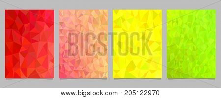 Abstract mosaic irregular triangle mosaic page template set - vector stationery background graphic collection from colored triangles
