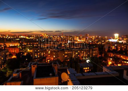 Night city, cityscape bokeh, blurred photo, cityscape at twilight time, city blurred background