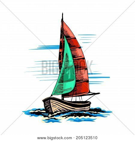 Sailing yacht in color with a number one on the sail. Extreme lifestyle.  Vector sketch. Sea sport.