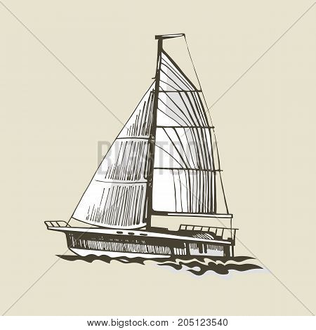Sailing yacht on a beige background with a white sail. Extreme lifestyle. Vector hand drawn sketch. Sea sport.