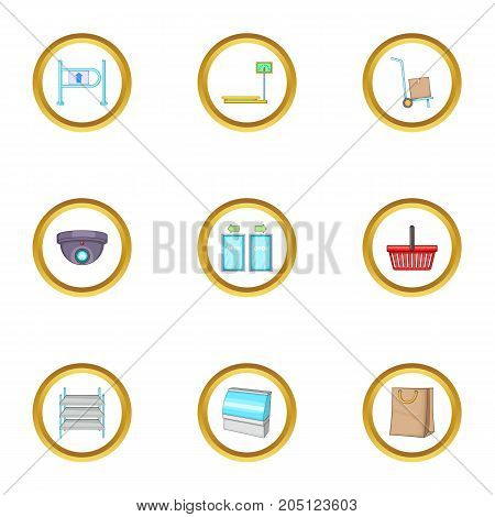 Store icons set. cartoon style set of 9 store vector icons for web design