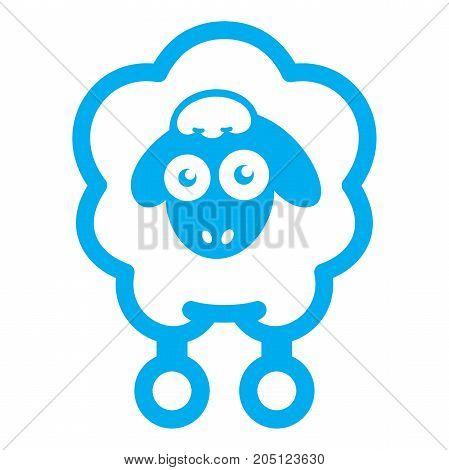 Cloud sheep icon. Flat illustration of blue sheep vector icon