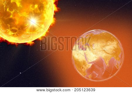 Solar flare and Earth showing Arabian peninsula, India and Africa, 3D illustration. Elements of this image furnished by NASA