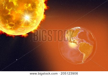 Solar flare and Earth showing South America, 3D illustration. Elements of this image furnished by NASA