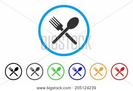 Fork And Spoon rounded icon. Style is a flat fork and spoon grey symbol inside light blue circle with black, gray, green, blue, red, orange versions. Vector designed for web and software interfaces.