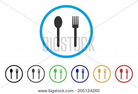 Fork And Spoon rounded icon. Style is a flat fork and spoon gray symbol inside light blue circle with black, gray, green, blue, red, orange variants. Vector designed for web and software interfaces.