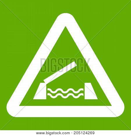Lifting bridge warning sign icon white isolated on green background. Vector illustration