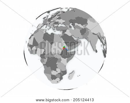 Eritrea on political globe with embedded flags. 3D illustration isolated on white background.
