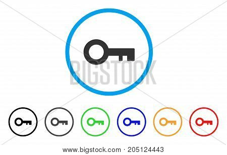 Key rounded icon. Style is a flat key gray symbol inside light blue circle with black, gray, green, blue, red, orange versions. Vector designed for web and software interfaces.