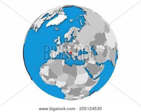 Bosnia And Herzegovina On Globe Isolated