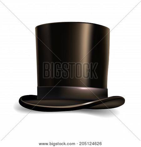 Vector black hat cylinder isolated on white background.