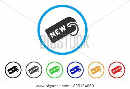 New Tag rounded icon. Style is a flat new tag gray symbol inside light blue circle with black, gray, green, blue, red, orange versions. Vector designed for web and software interfaces.