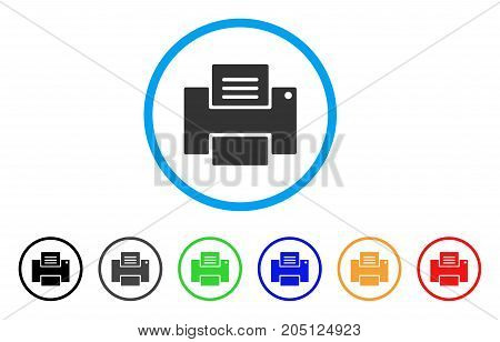 Printer rounded icon. Style is a flat printer gray symbol inside light blue circle with black, gray, green, blue, red, orange versions. Vector designed for web and software interfaces.