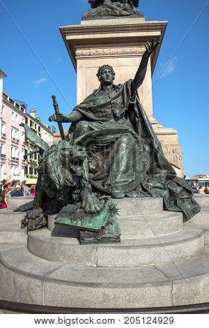 lower part of statue of Victor Emmanuel II . Venice.