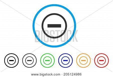 Remove rounded icon. Style is a flat remove gray symbol inside light blue circle with black, gray, green, blue, red, orange variants. Vector designed for web and software interfaces.