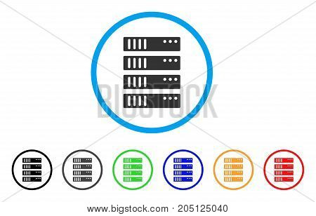 Server rounded icon. Style is a flat server grey symbol inside light blue circle with black, gray, green, blue, red, orange color versions. Vector designed for web and software interfaces.