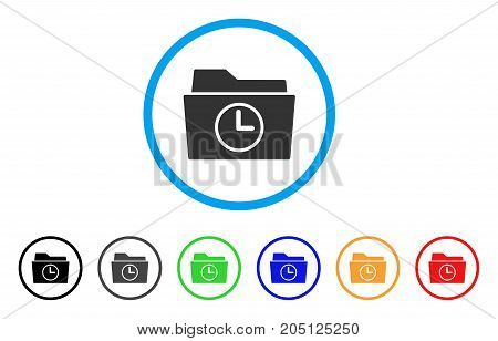 Temporary Folder rounded icon. Style is a flat temporary folder gray symbol inside light blue circle with black, gray, green, blue, red, orange color versions.