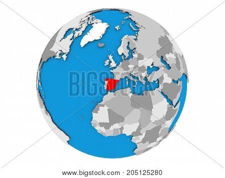 Spain On Globe Isolated