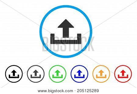 Upload rounded icon. Style is a flat upload grey symbol inside light blue circle with black, gray, green, blue, red, orange variants. Vector designed for web and software interfaces.