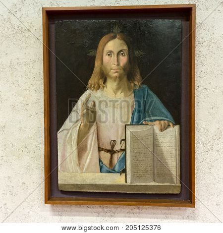 VERONA ITALY - MAY 1 2016: Christ the Reedemer in Castelvecchio Museum. Verona Italy