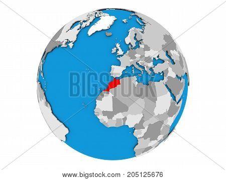 Morocco On Globe Isolated