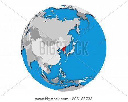 North Korea On Globe Isolated