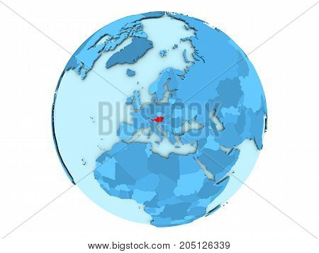 Austria On Blue Globe Isolated