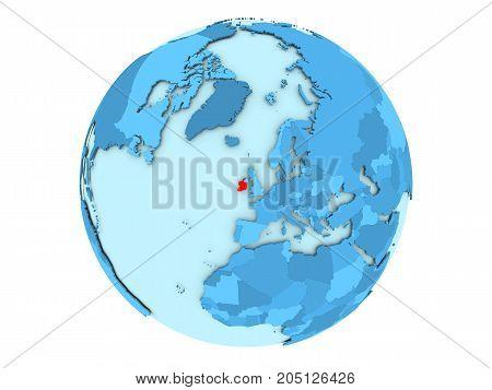 Ireland On Blue Globe Isolated