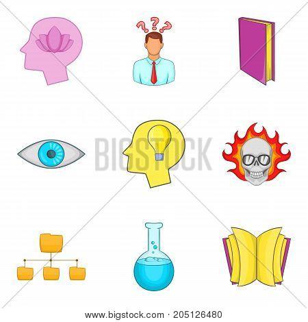 Intelligent icons set. Cartoon set of 9 intelligent vector icons for web isolated on white background