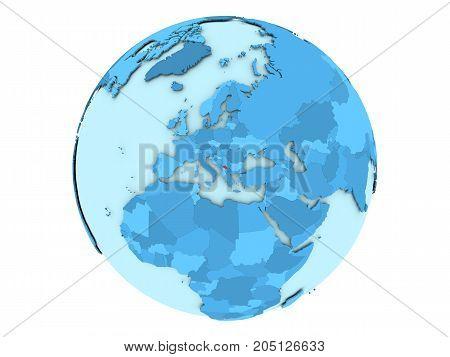 Kosovo On Blue Globe Isolated