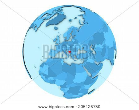 Bosnia And Herzegovina On Blue Globe Isolated