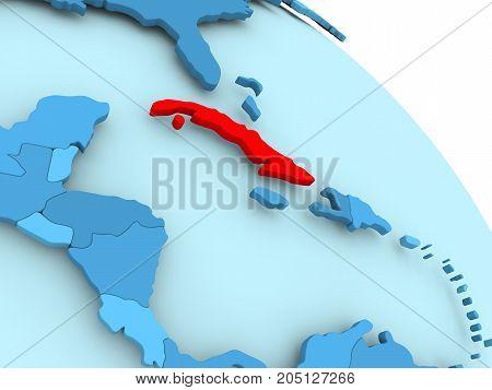 Cuba On Blue Globe