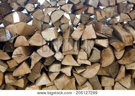 Natural Firewood against daytime light, close up