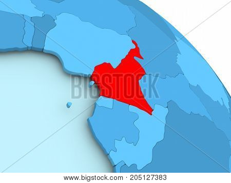 Cameroon On Blue Globe