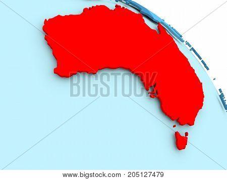 Australia On Blue Globe