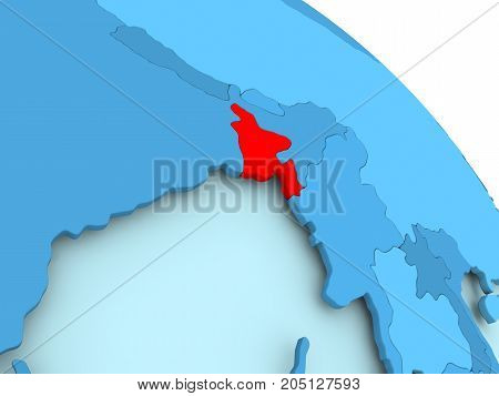 Bangladesh On Blue Globe
