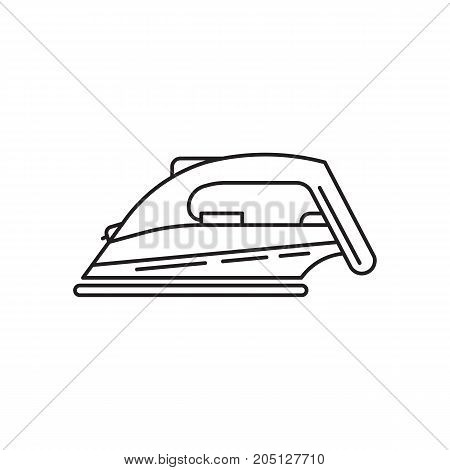 Vector linear illustration of iron for Ironing clothes. Staff for home Laundry