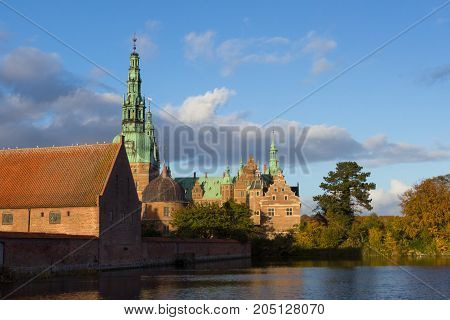 View of Frederiksborg palace in Hilleroed, Denmark