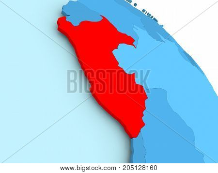 Peru On Blue Globe