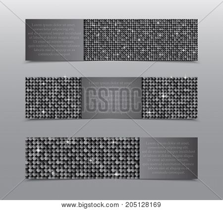 Horizontal Set of Silver Sequins Banners Template for Business Design, Infographics. Silver Mosaic, Sequins, Glitter, Sparkle, Stars. Vector Illustration. Card Brochure Business Card Probe.