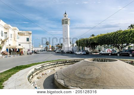 Mahdia.Tunisia.May 23 2017.The street and mosque of Mahdia in Tunisia