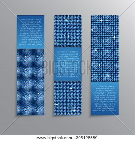 Vertical Set of Blue Sequins Banners Template for Business Design, Infographics. Blue Mosaic, Sequins, Glitter, Sparkle, Stars. Vector Illustration. Card Brochure Business Card Probe.