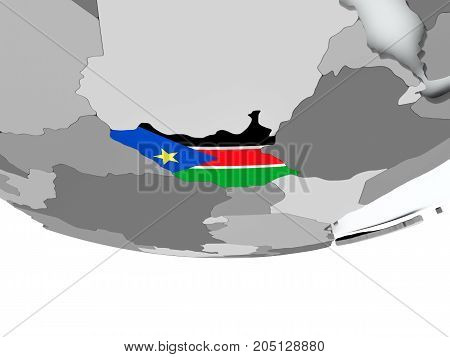 South Sudan With Flag On Globe