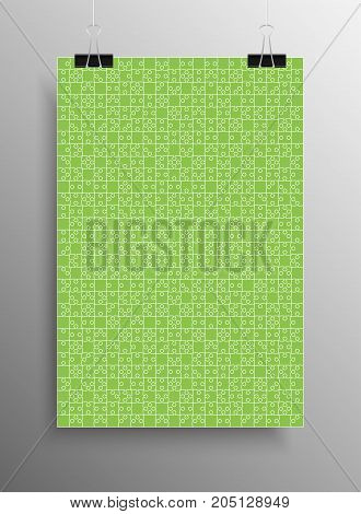 Vertical Poster Banner A4 Sized Vector Paper Clips. Green Puzzle Pieces Arranged in a Rectangle - Vector Illustration. Jigsaw Puzzle Blank Template or Cutting Guideline. Vector Background.
