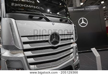 MOSCOW, SEP, 5, 2017: View on silver trucks Mercedes-Benz Actros exhibits on Commercial Transport Exhibition ComTrans-2017 Commercial Mercedes trucks. Automobile industry last achivements.German truck