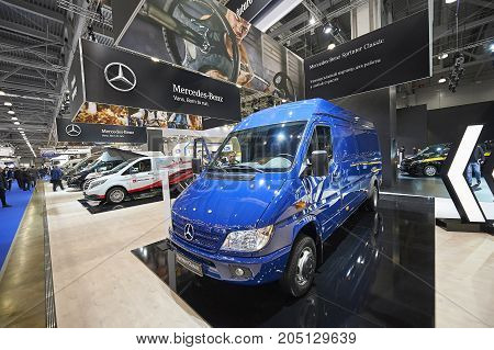 MOSCOW, SEP, 5, 2017: View on blue minivan mini bus Mercedes Benz Sprinter exhibit on Commercial Transport Exhibition ComTrans-2017. Commercial minivans Mercedes-Benz for cargo transportation