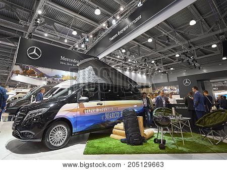 MOSCOW, SEP, 5, 2017: View on camping car minivan Mercedes Benz Marco Polo with green grass lawn bbq place exhibit on Commercial Transport Exhibition ComTrans-2017. Civil Mercedes-Benz cars vehicles