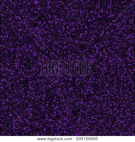 Abstract Background with Purple Violet Bubbles Circles on Black Background. Random Dots for your Amazing Design.