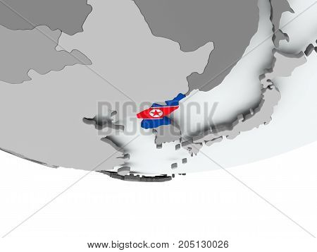 North Korea With Flag On Globe